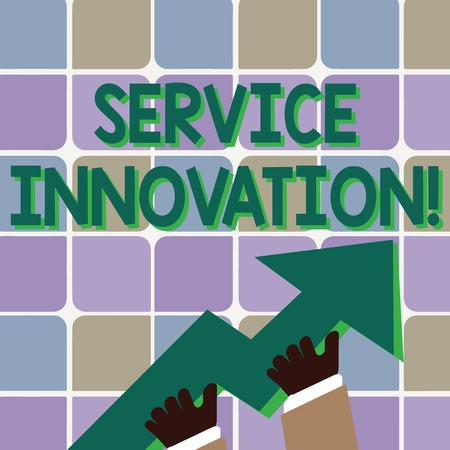 Conceptual hand writing showing Service Innovation. Concept meaning changing the way you serve better your customers Hand Holding Colorful Huge 3D Arrow Pointing and Going Up