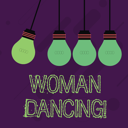 Writing note showing Woanalysis Dancing. Business concept for confident woanalysis that dances gracefully and professionally Color Pendant Bulb Hanging with One Different Shade Lightbulb