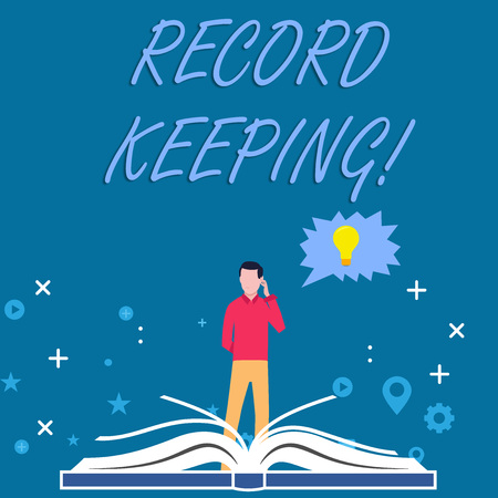 Writing note showing Record Keeping. Business concept for The activity or occupation of keeping records or accounts Man Standing Behind Open Book Jagged Speech Bubble with Bulb