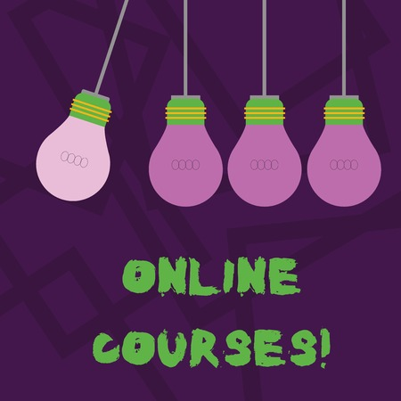 Conceptual hand writing showing Online Courses. Concept meaning courses deliver a series of lessons to a web browser Color Pendant Bulb Hanging with Different Shade Lightbulb 版權商用圖片