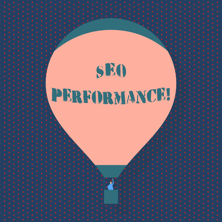 Handwriting text writing Seo Perforanalysisce. Conceptual photo increase the quantity and quality of traffic to website Blank Pink Hot Air Balloon Floating with One Passenger Waving From Gondola Reklamní fotografie - 122061739