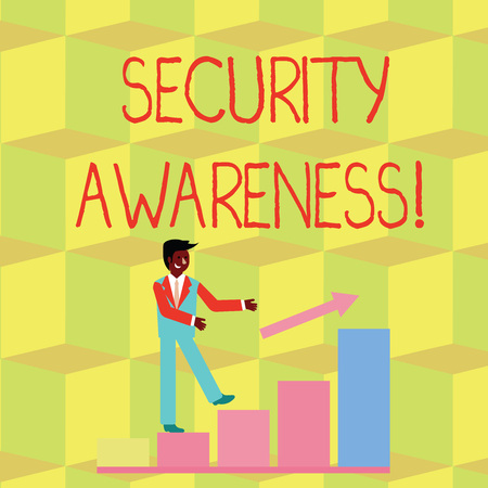 Handwriting text Security Awareness. Conceptual photo educating employees about the computer security Smiling Businessman Climbing Bar Chart Following an Arrow Going Up