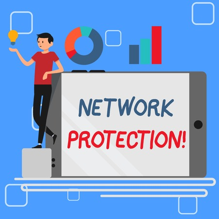 Handwriting text Network Protection. Conceptual photo protect the usability and integrity of the network Man Leaning on Blank Smartphone Turned on Its Side with Graph and Idea Icon