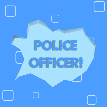 Writing note showing Police Officer. Business concept for a demonstrating who is an officer of the law enforcement team Pale Blue Speech Bubble in Irregular Cut 3D Style Backdrop