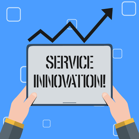Handwriting text Service Innovation. Conceptual photo changing the way you serve better your customers Hand Holding Blank Screen Tablet under Black Progressive Arrow Going Upward