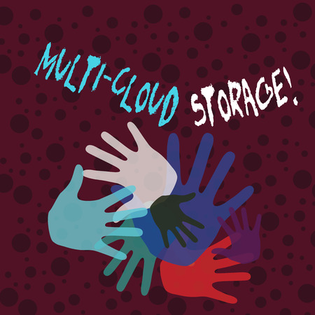 Handwriting text writing Multi Cloud Storage. Conceptual photo use of multiple cloud computing and storage services Color Hand Marks of Different Sizes Overlapping for Teamwork and Creativity 版權商用圖片