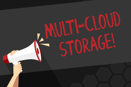Text sign showing Multi Cloud Storage. Business photo showcasing use of multiple cloud computing and storage services Human Hand Holding Tightly a Megaphone with Sound Icon and Blank Text Space