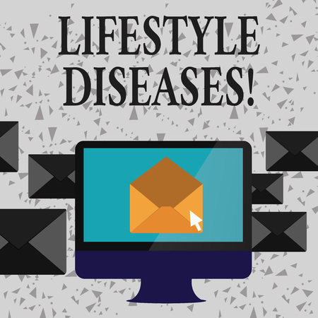 Word writing text Lifestyle Diseases. Business photo showcasing the disease associated with the way a demonstrating lives Open Color Envelope inside Computer Screen. Letter Casing Surrounds the PC