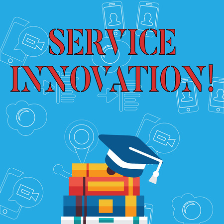 Word writing text Service Innovation. Business photo showcasing changing the way you serve better your customers Graduation Cap with Tassel Resting on Top of Stack of Colorful Thick Books