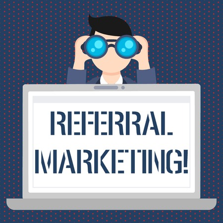 Handwriting text Referral Marketing. Conceptual photo the process of leveraging partners and customers Man Holding and Looking into Binocular Behind Open Blank Space Laptop Screen