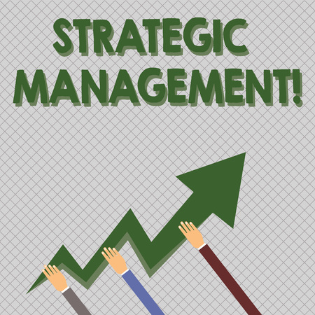 Conceptual hand writing showing Strategic Management. Concept meaning formulation and implementation of the major goals Hands Holding Zigzag Lightning Arrow Pointing and Going Up