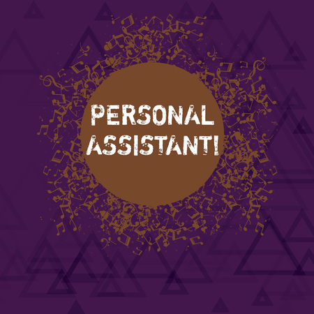 Writing note showing Personal Assistant. Business concept for administrative assistant working exclusively for a demonstrating Disarrayed Jumbled Musical Notes Icon with Colorful Circle