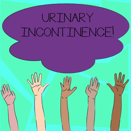 Word writing text Urinary Incontinence. Business photo showcasing uncontrolled leakage of urine Loss of bladder control Multiracial Diversity Hands Raising Upward Reaching for Colorful Big Cloud