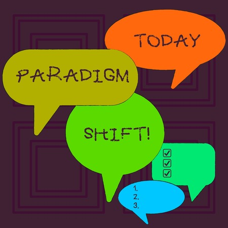 Word writing text Paradigm Shift. Business photo showcasing fundamental change in approach or underlying assumptions Many Color Speech Bubble in Different Sizes and Shade for Group Discussion Stock fotó