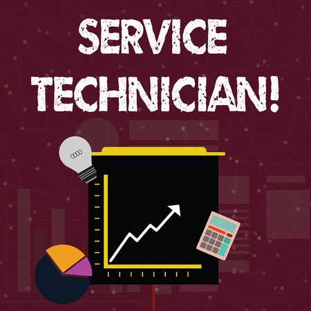 Handwriting text Service Technician. Conceptual photo Managing all on site installation and repair task Investment Icons of Pie and Line Chart with Arrow Going Up, Bulb, Calculator