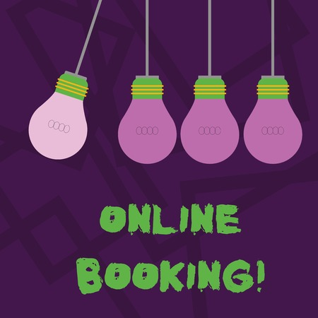 Conceptual hand writing showing Online Booking. Concept meaning tool used to analysisage business travel through internet Color Pendant Bulb Hanging with Different Shade Lightbulb Reklamní fotografie