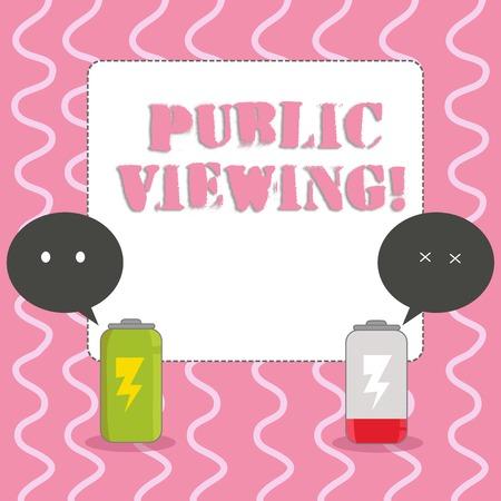 Signe texte montrant l'affichage public. Photo d'entreprise présentant décrit l'affichage d'un événement dans une foule publique Batterie entièrement chargée et déchargée avec deux bulles colorées Emoji