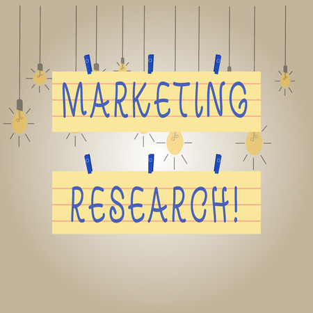 Writing note showing Marketing Research. Business concept for process of determining the viability of a new service Strip Size Lined Paper Sheet Hanging Using Blue Clothespin
