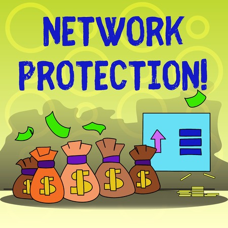 Writing note showing Network Protection. Business concept for protect the usability and integrity of the network Bag with Dollar Currency Sign and Arrow with Blank Banknote