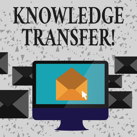 Word writing text Knowledge Transfer. Business photo showcasing sharing or disseminating of knowledge and experience Open Color Envelope inside Computer Screen. Letter Casing Surrounds the PC