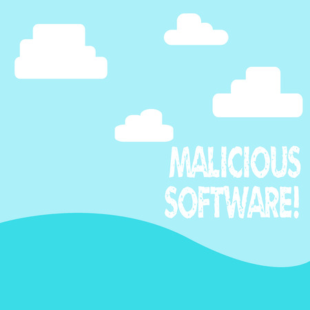 Word writing text Malicious Software. Business photo showcasing the software that brings harm to a computer system photo of Landscape View of Digitally Drawn Clouds and Plane Hills