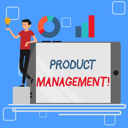 Handwriting text Product Management. Conceptual photo organisational lifecycle function within a company Man Leaning on Blank Smartphone Turned on Its Side with Graph and Idea Icon