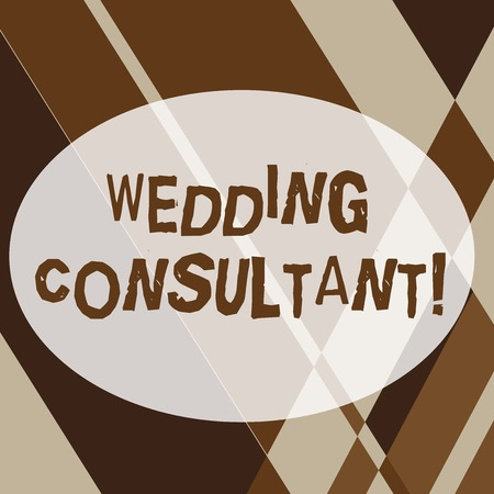 Text sign showing Wedding Consultant. Business photo text someone plan and coordinate the wedding celebration Geometrical Shapes and Linear Combination in Brown Tone in Abstract Pattern