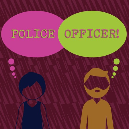Text sign showing Police Officer. Business photo text a demonstrating who is an officer of the law enforcement team Bearded Man and Woman Faceless Profile with Blank Colorful Thought Bubble