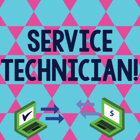 Word writing text Service Technician. Business photo showcasing Managing all on site installation and repair task Exchange Arrow Icons Between Two Laptop with Currency Sign and Check Icons Stok Fotoğraf