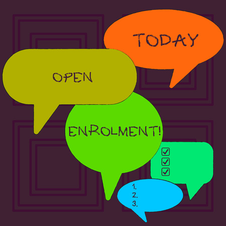 Word writing text Open Enrolment. Business photo showcasing period during which members can choose an alternate plan Many Color Speech Bubble in Different Sizes and Shade for Group Discussion
