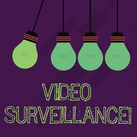 Writing note showing Video Surveillance. Business concept for system of monitoring activity in an area or building Color Pendant Bulb Hanging with One Different Shade Lightbulb