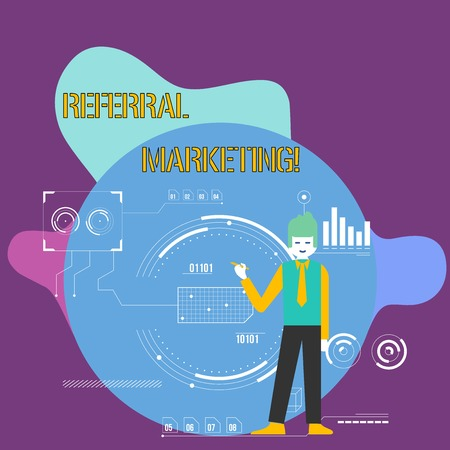 Conceptual hand writing showing Referral Marketing. Concept meaning the process of leveraging partners and customers Man Holding Pen Pointing to Chart Diagram SEO Process Icons