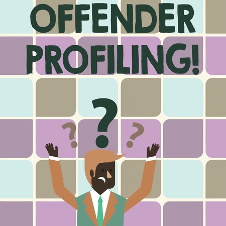 Writing note showing Offender Profiling. Business concept for Develop profiles for offenders who not yet apprehended Businessman Raising Both Arms with Question Marks Above Head