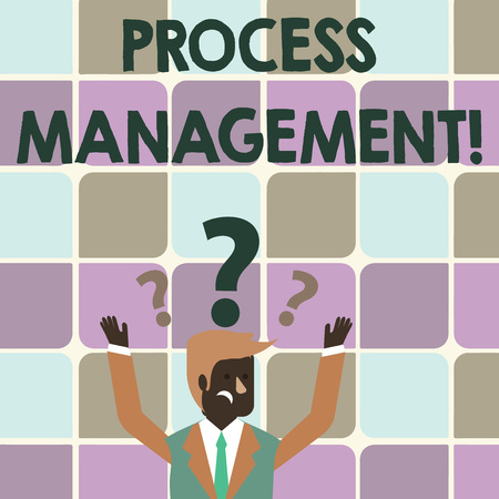 Writing note showing Process Management. Business concept for aligning processes with an organization s is strategic goals Businessman Raising Both Arms with Question Marks Above Head