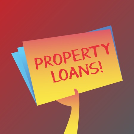 Conceptual hand writing showing Property Loans. Concept meaning a loan used to buy land or buildings and infrastructures Hand Holding Blank Space Color File Folder with Sheet Inside Banque d'images
