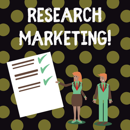 Text sign showing Research Marketing. Business photo showcasing process of gathering and interpreting info about a market Man and Woman in Business Suit Presenting Report of Check and Lines on Paper
