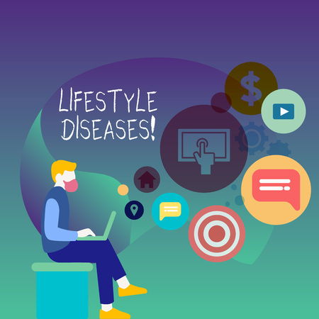 Text sign showing Lifestyle Diseases. Business photo showcasing the disease associated with the way a demonstrating lives Man Sitting Down with Laptop on his Lap and SEO Driver Icons on Blank Space