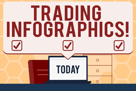 Text sign showing Trading Infographics. Business photo text visual representation of trade information or data Blank Huge Speech Bubble Pointing to White Laptop Screen in Workspace Idea