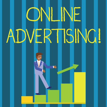 Writing note showing Online Advertising. Business concept for uses the Internet to marketing messages to customers Smiling Businessman Climbing Bar Chart Following an Arrow Up Banco de Imagens