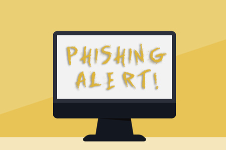 Word writing text Phishing Alert. Business photo showcasing Be cautious to fraudulent attempt to obtain subtle facts Blank Space Desktop Computer Colorful Monitor Screen Freestanding on Table Stock Photo