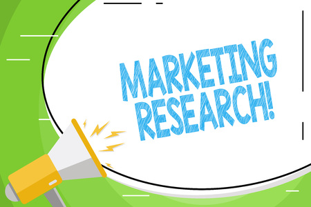Text sign showing Marketing Research. Business photo showcasing process of determining the viability of a new service Blank White Huge Oval Shape Sticker and Megaphone Shouting with Volume Icon