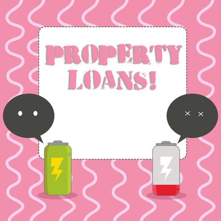Signe texte montrant les prêts immobiliers. Photo d'entreprise présentant un prêt utilisé pour acheter des terrains ou des bâtiments et des infrastructures Batterie entièrement chargée et déchargée avec deux bulles colorées Emoji