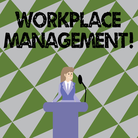 Text sign showing Workplace Management. Business photo showcasing organizing things surrounding you in your working space Businesswoman Standing Behind Podium Rostrum Speaking on Wireless Microphone