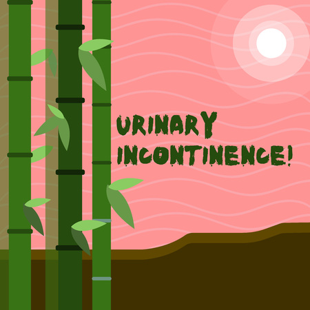 Text sign showing Urinary Incontinence. Business photo text uncontrolled leakage of urine Loss of bladder control Colorful Sets of Leafy Bamboo on Left Side and Moon or Sun with Round Beam Reklamní fotografie
