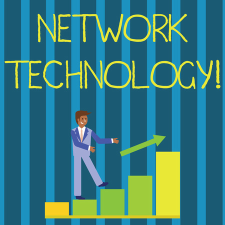 Writing note showing Network Technology. Business concept for transmit data digitally through information systems Smiling Businessman Climbing Bar Chart Following an Arrow Up