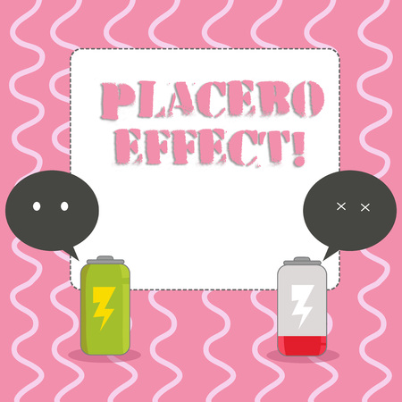 Text sign showing Placebo Effect. Business photo showcasing a beneficial effect produced by a placebo drug or treatment Fully Charged and Discharged Battery with Two Colorful Emoji Speech Bubble
