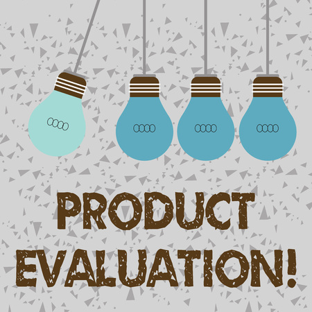 Word writing text Product Evaluation. Business photo showcasing viability of the product with respect to market deanalysisd Color Incandescent Pendant Bulb Hanging with One Different Shade Lightbulb