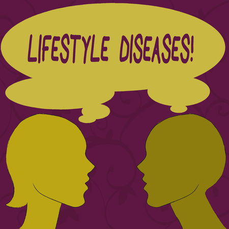 Signe texte montrant les maladies du mode de vie. Photo d'entreprise présentant la maladie associée à la façon dont une vie qui démontre l'image de profil Sideview Silhouette de l'homme et de la femme avec une bulle de pensée partagée Banque d'images