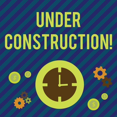 Text sign showing Under Construction. Business photo showcasing project that is unfinished but actively being worked on Time Management Icons of Clock, Cog Wheel Gears and Dollar Currency Sign Stock fotó