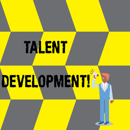 Text sign showing Talent Development. Business photo text anticipation of required huanalysis capital for organization Businessman Looking Up, Holding and Talking on Megaphone with Volume Icon